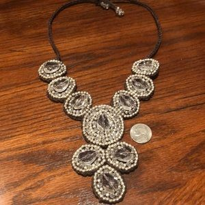 Fabric backed statement lightweight necklace